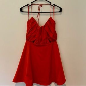 Zara Orange cutout sleeveless flare dress